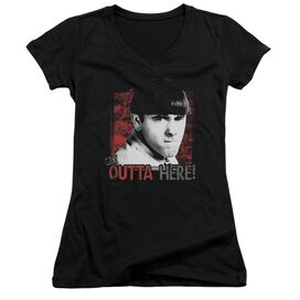 Three Stooges Get Outta Here Junior V Neck T-Shirt