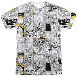 Batman Comic All Over Short Sleeve Adult 100% Poly Crew T-Shirt