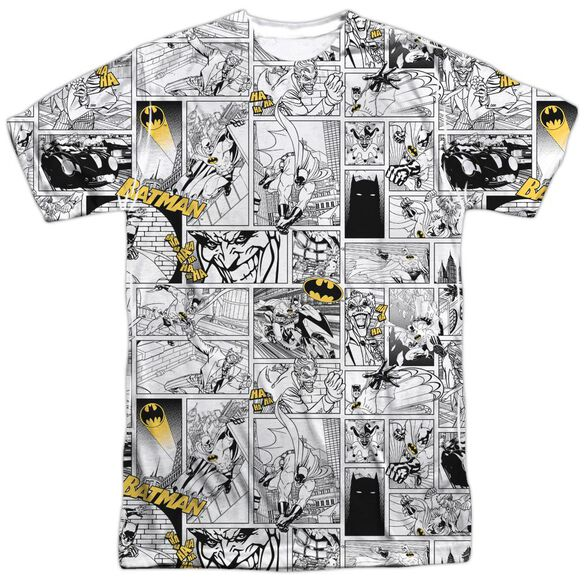 Batman Comic All Over Short Sleeve Adult 100% Poly Crew T-Shirt