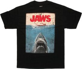 Jaws Poster Black T-Shirt