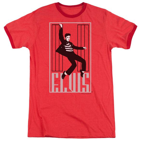 Elvis One Jailhouse Adult Heather Ringer Red