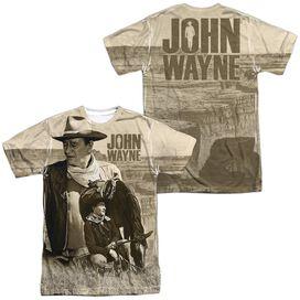 John Wayne Stoic Cowboy (Front Back Print) Short Sleeve Adult Poly Crew T-Shirt