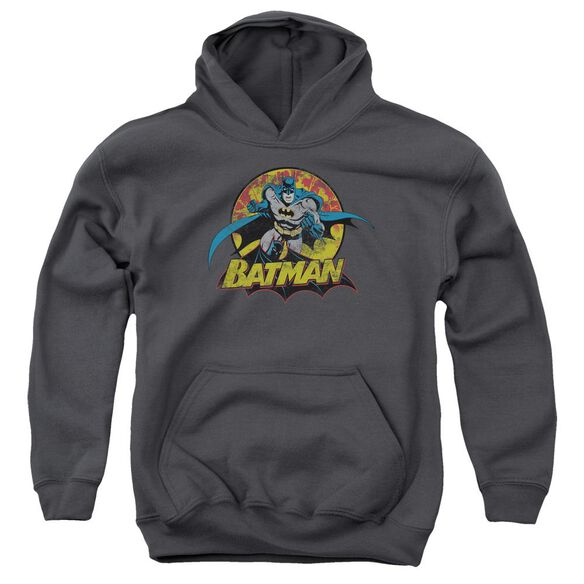 Jla Batman Rough Distress Youth Pull Over Hoodie