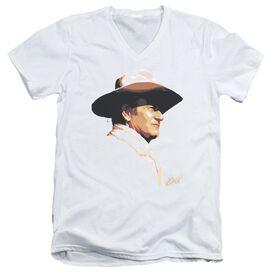 John Wayne Painted Profile Short Sleeve Adult V Neck T-Shirt