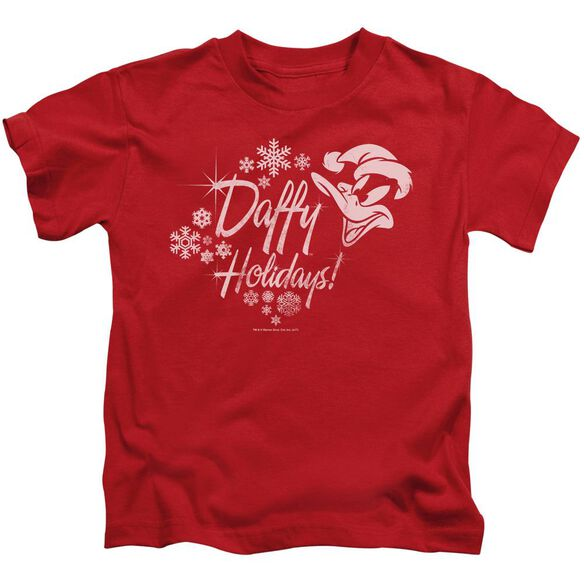 Looney Tunes Daffy Holidays Short Sleeve Juvenile Red T-Shirt