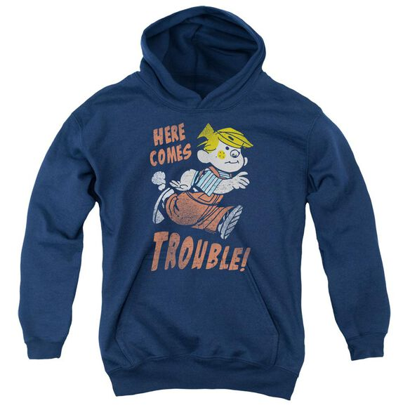Dennis The Menace Here Comes Trouble Youth Pull Over Hoodie