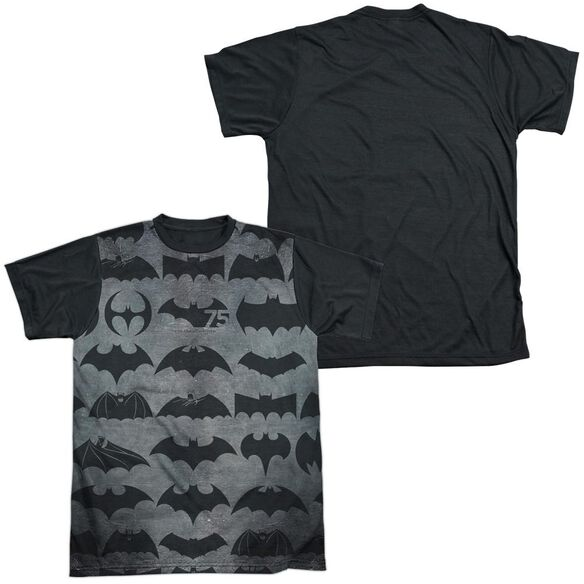 Batman 75 Symbols Short Sleeve Adult Front Black Back T-Shirt