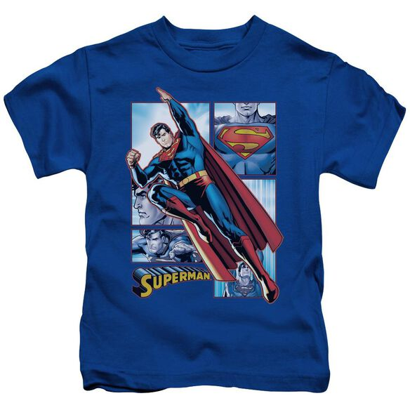 Jla Superman Panels Short Sleeve Juvenile Royal Blue T-Shirt
