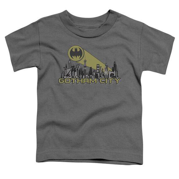 Batman Gotham Skyline Short Sleeve Toddler Tee Charcoal T-Shirt