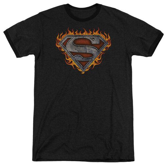 Superman Iron Fire Shield Adult Heather Ringer