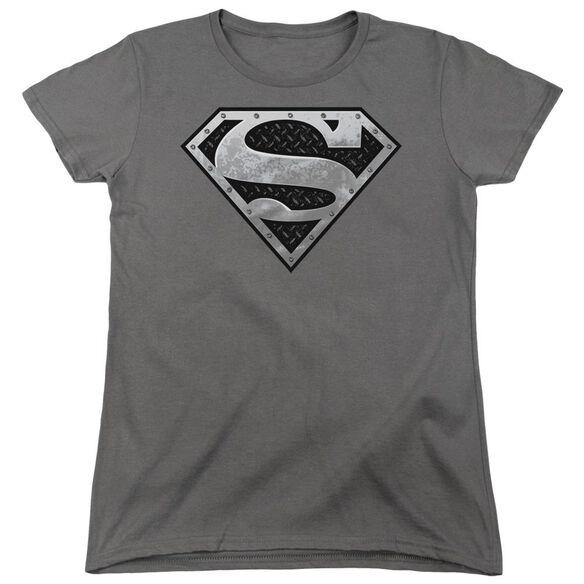Superman Super Metallic Shield Short Sleeve Womens Tee T-Shirt