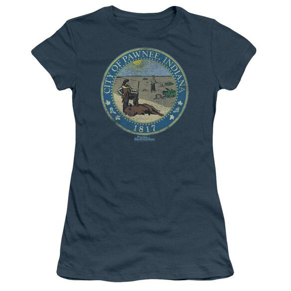Parks And Rec Distressed Pawnee Seal Short Sleeve Junior Sheer T-Shirt