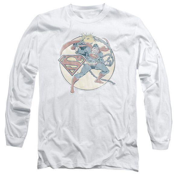 Dco Retro Superman Iron On Long Sleeve Adult T-Shirt