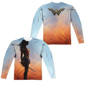 Wonder Woman Movie Poster (Front Back Print) Long Sleeve Adult Poly Crew T-Shirt