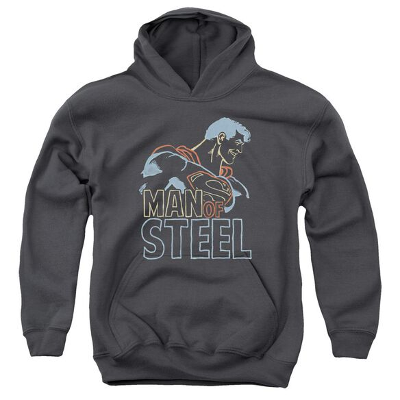 Superman Colored Lines Youth Pull Over Hoodie