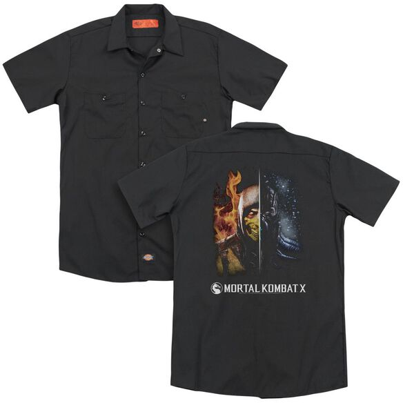 Mortal Kombat Fire And Ice (Back Print) Adult Work Shirt