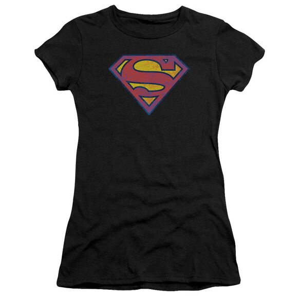 Superman Sm Neon Distress Logo Premium Bella Junior Sheer Jersey