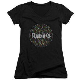 Rubik's Cube Circle Pattern Junior V Neck T-Shirt