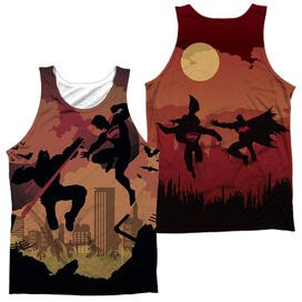 Batman V Superman Silhouette Fight (Front Back Print) Adult Poly Tank Top