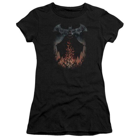 Batman Smoke & Fire Short Sleeve Junior Sheer T-Shirt