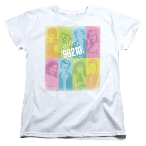 90210 Color Block Of Friends Short Sleeve Womens Tee White T-Shirt