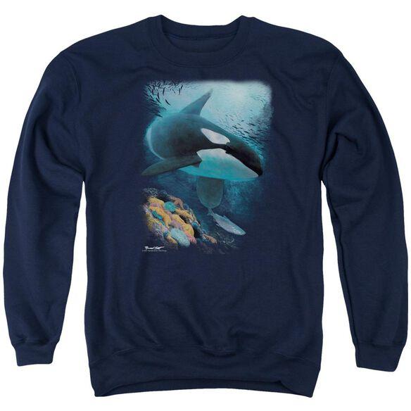 Wildlife Salmon Hunter Orca Adult Crewneck Sweatshirt