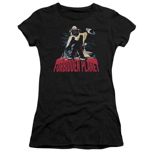 Forbidden Planet Robby And Woman Short Sleeve Junior Sheer T-Shirt