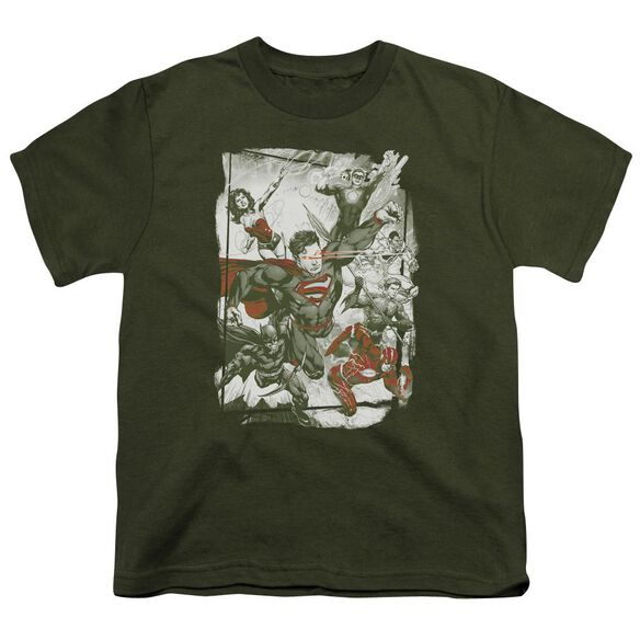 Jla And Red Short Sleeve Youth Military T-Shirt