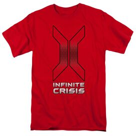 Infinite Crisis Title Short Sleeve Adult Red T-Shirt