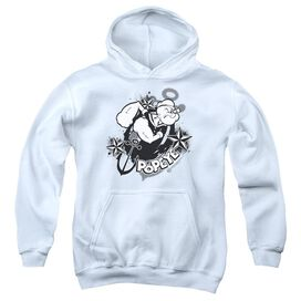 Popeye Stars And Anchor-youth Pull-over Hoodie - White