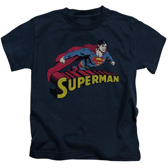 Superman Flying Over Short Sleeve Juvenile Navy T-Shirt