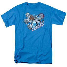 Teen Titans Go Cyborg Short Sleeve Adult Turquoise T-Shirt