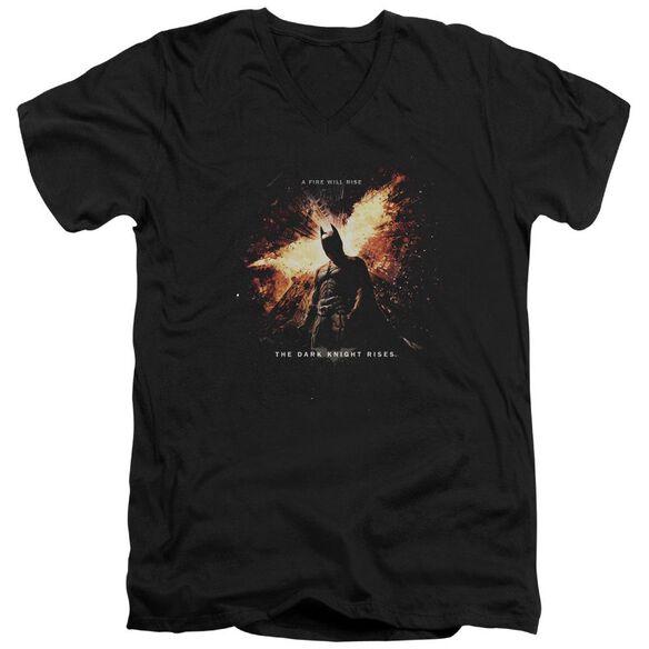 Dark Knight Rises Fire Will Rise Short Sleeve Adult V Neck T-Shirt
