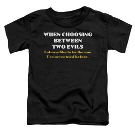 Two Evils Short Sleeve Toddler Tee Black T-Shirt