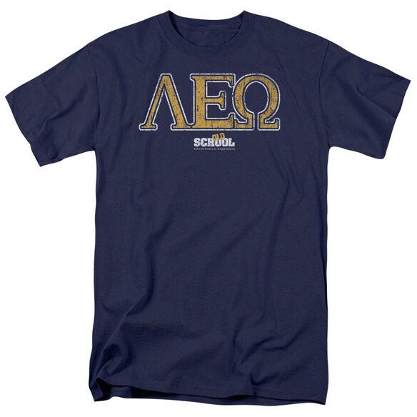 Old School Leo Short Sleeve Adult Navy T-Shirt
