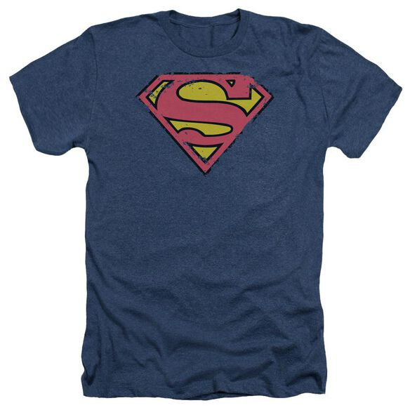 Superman Distressed Shield - Adult Heather - Navy