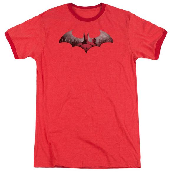 Arkham City In The City Adult Heather Ringer Red