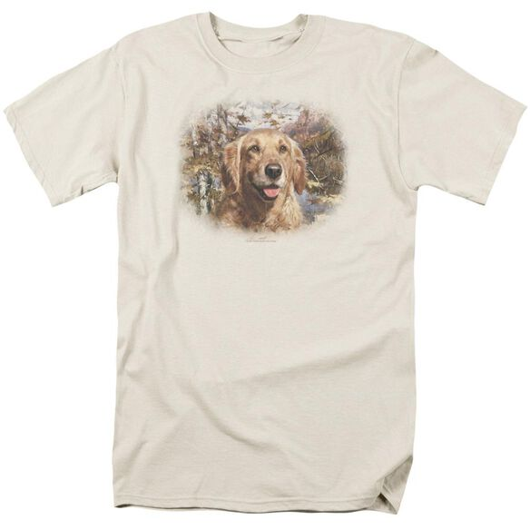 Wildlife Golden Retriever Head Short Sleeve Adult Cream T-Shirt