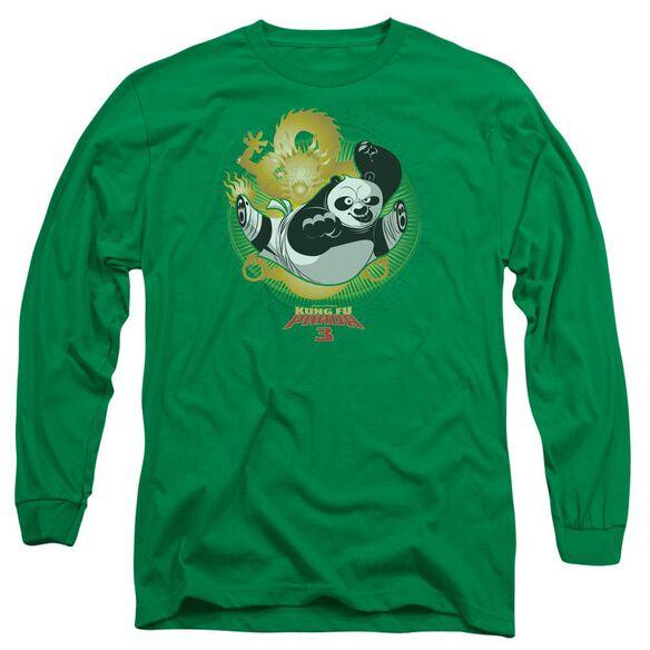 Kung Fu Panda Drago Po Long Sleeve Adult Kelly T-Shirt