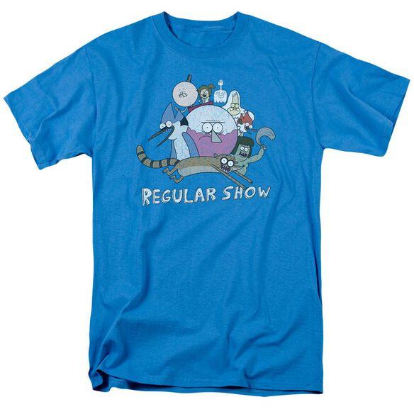 Regular Show Surrounding Benson Short Sleeve Adult Turquoise T-Shirt