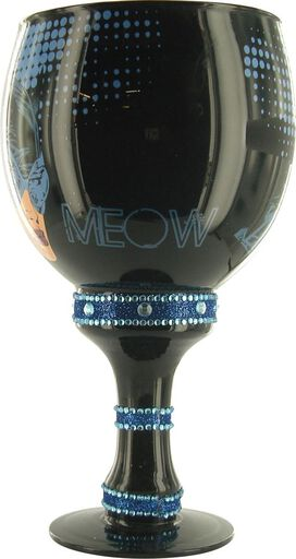 Catwoman Meow Black Glass Goblet