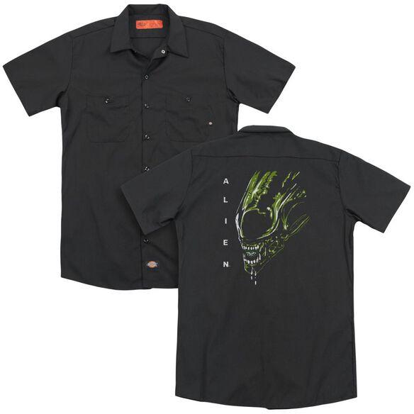 Alien Acid Drool(Back Print) Adult Work Shirt