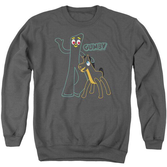 Gumby Outlines - Adult Crewneck Sweatshirt - Charcoal
