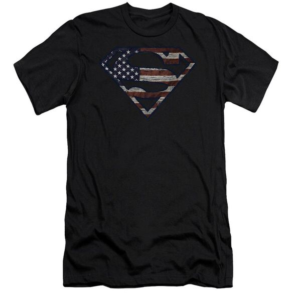Superman Wartorn Flag Short Sleeve Adult T-Shirt