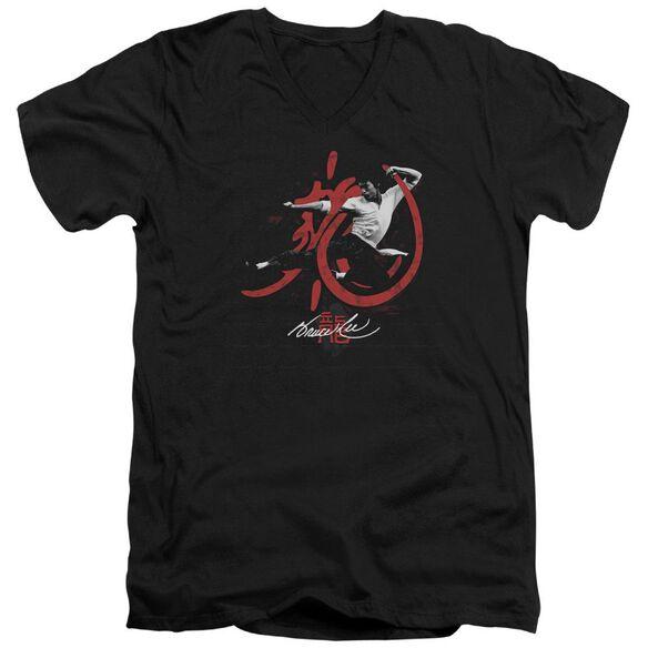 Bruce Lee High Flying Short Sleeve Adult V Neck T-Shirt