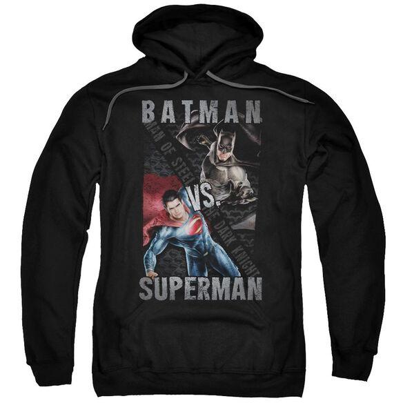 Batman Vs Superman Hero Split Adult Pull Over Hoodie