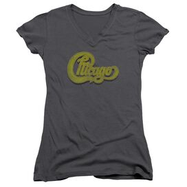 Chicago Distressed Junior V Neck T-Shirt