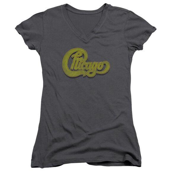 Chicago Distressed Junior V Neck T-Shirt