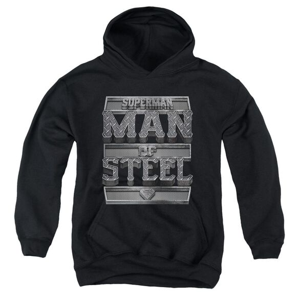 Superman Steel Text Youth Pull Over Hoodie