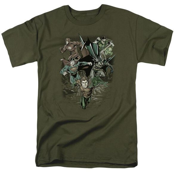 Jla Spacing Out Short Sleeve Adult Military T-Shirt